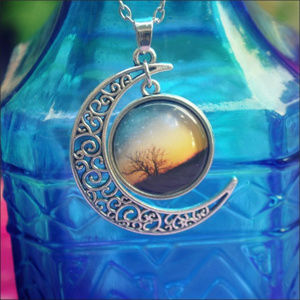 Jewelry - Filigree Crescent Moon Dome Charm Necklace